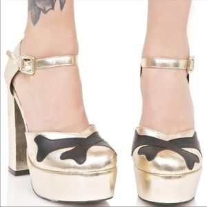 Iron Fist Hey You Guys Gold Platform Heels